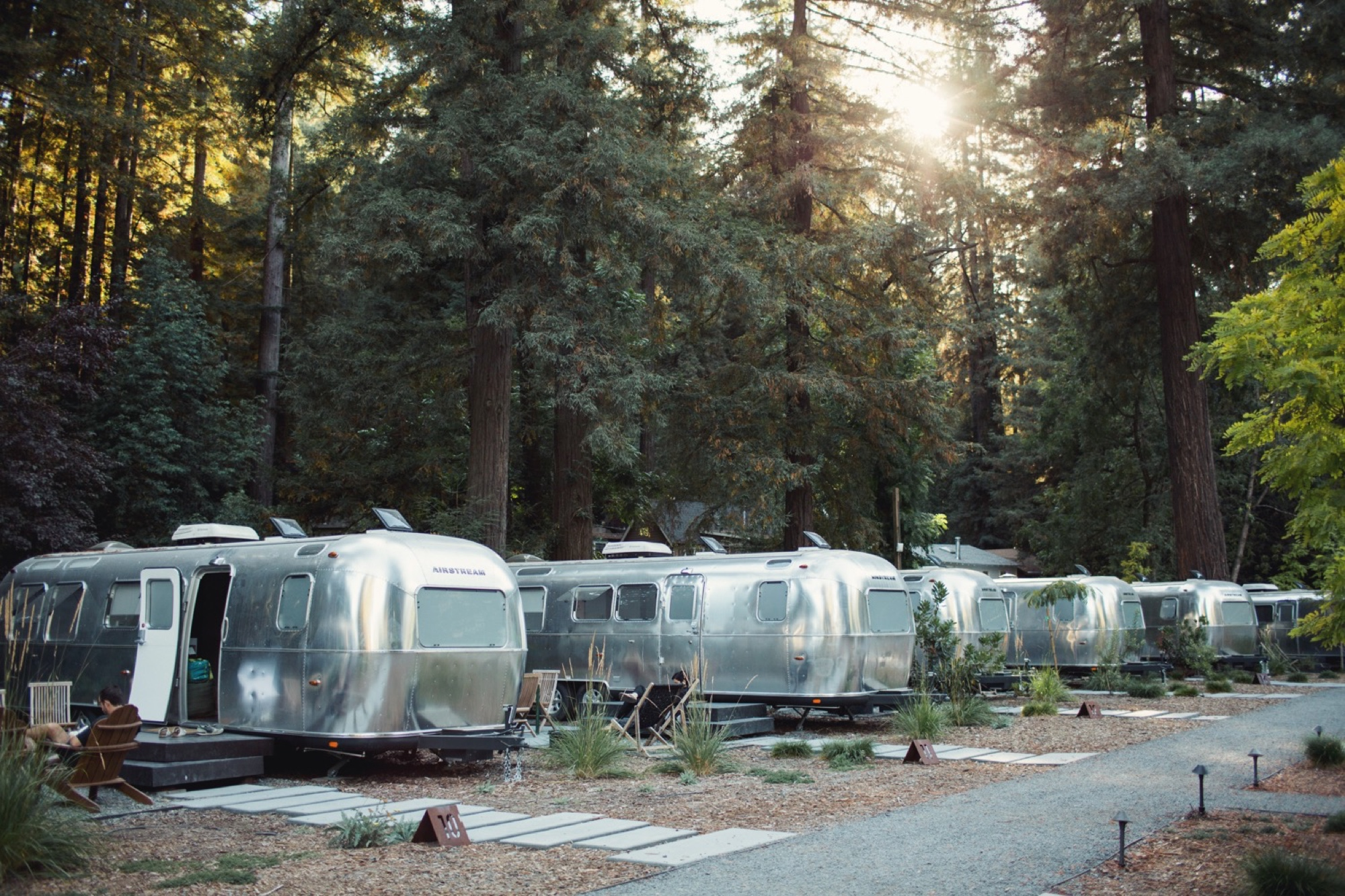 Family session in an Airstream Camp on the Russian River