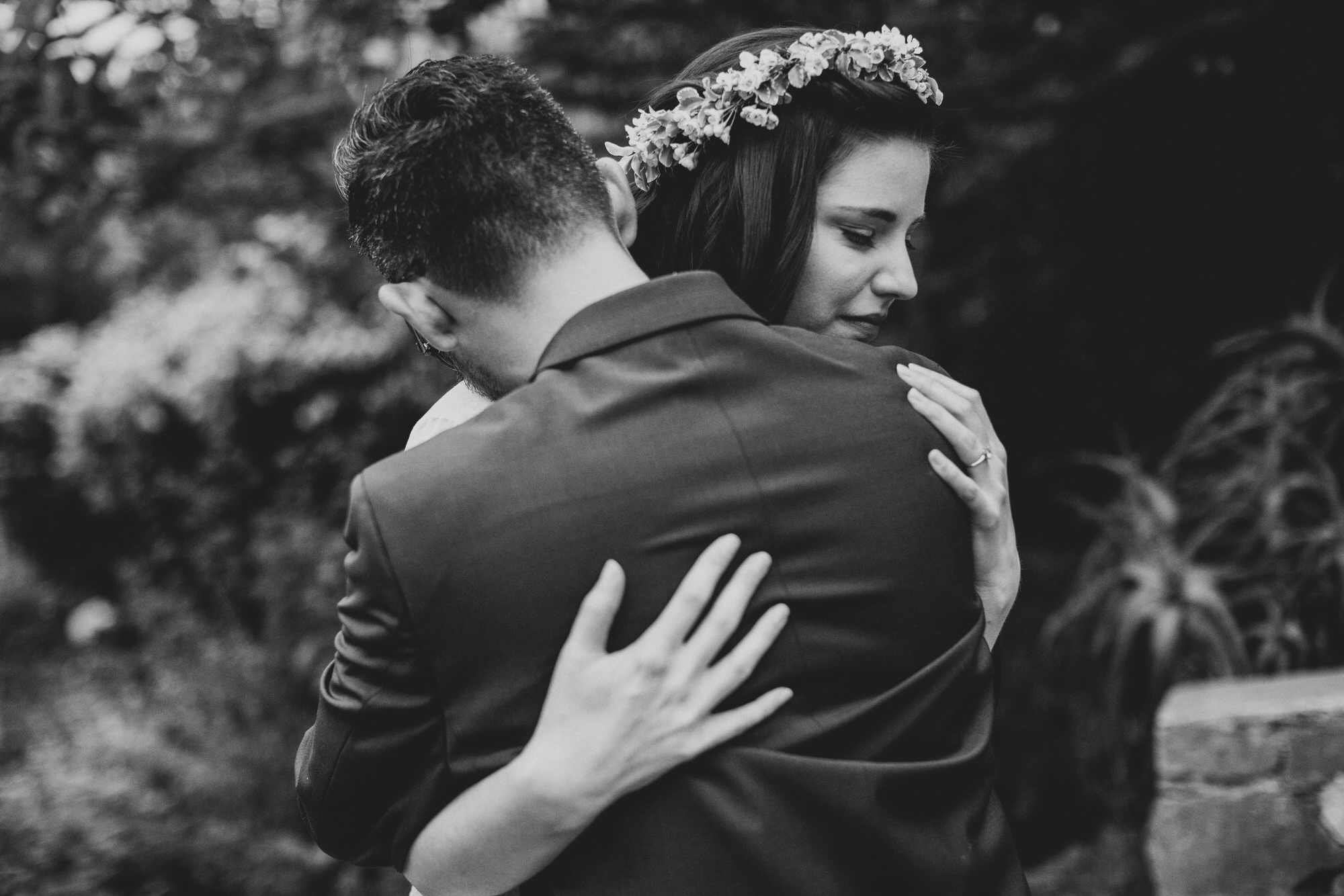 Black and white hug