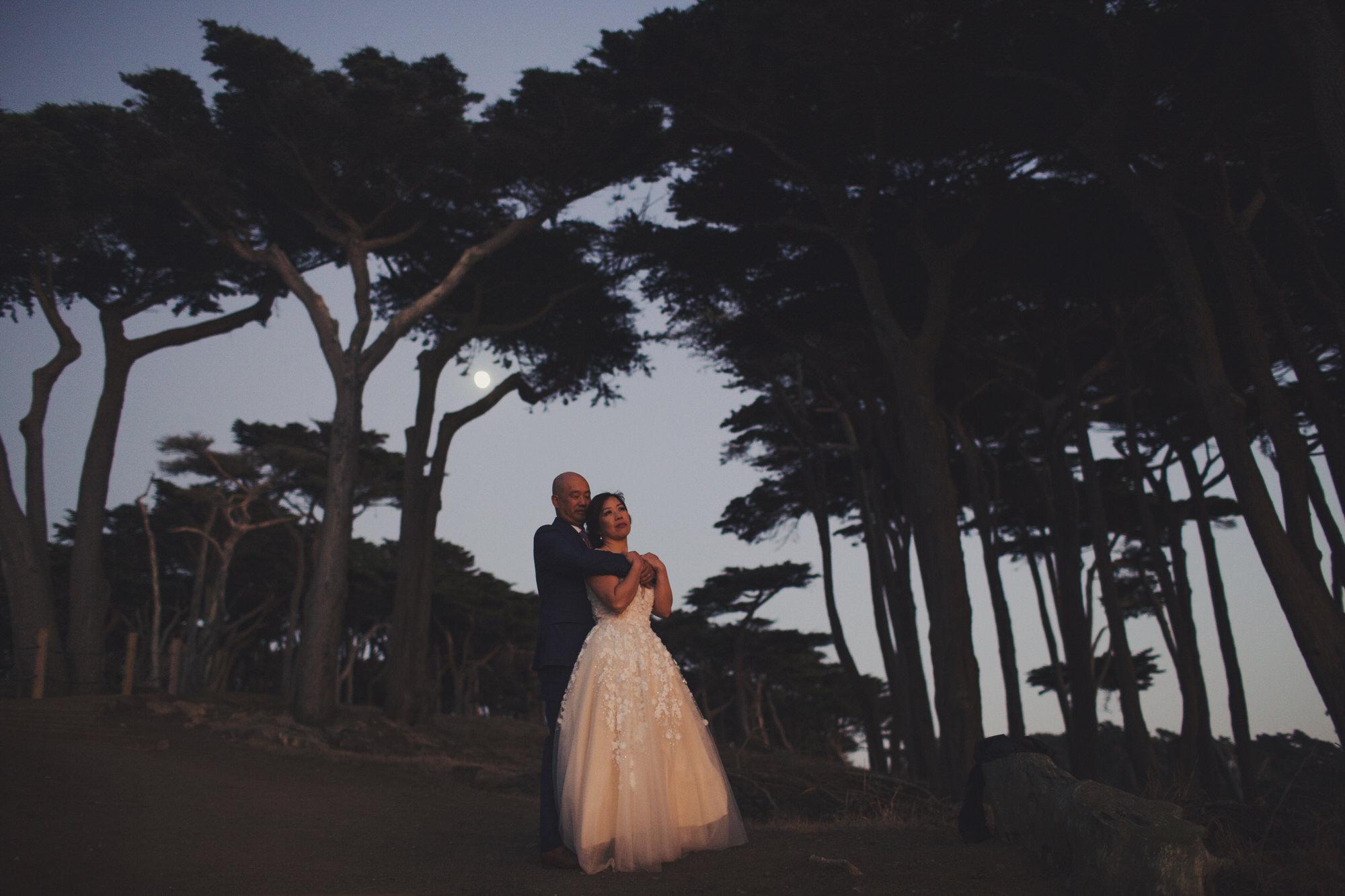 pine trees wedding