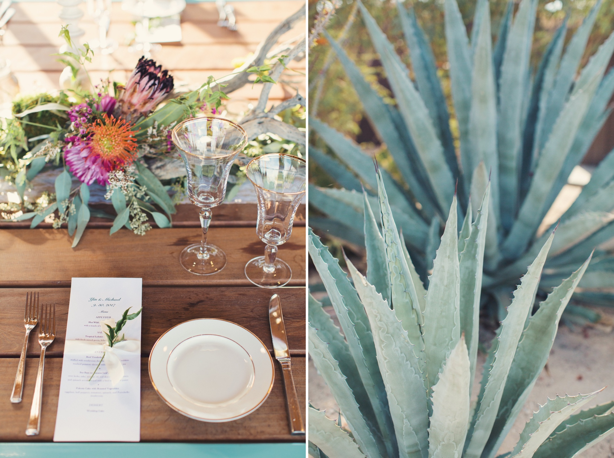 table settings succulents
