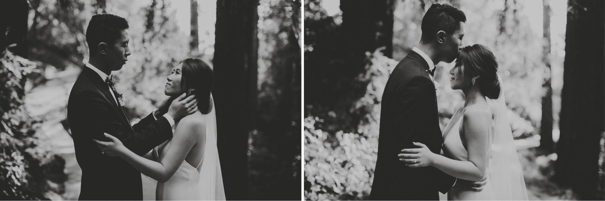 Romantic couple kissing black and white